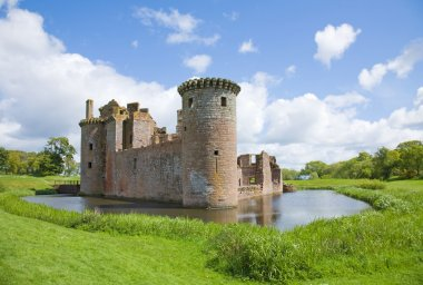 Moated Caerlaverock Castle, Scotland, ,