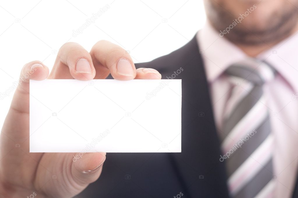 Closeup of business man holding a blank business card — Stock Photo ...