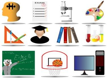 Elementary school icon set,vector illustration od education icons,college i