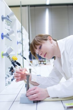 Young and pretty female researcher lighting up a burner in a lab