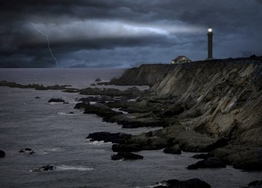Lighthouse during a heavy storm at night