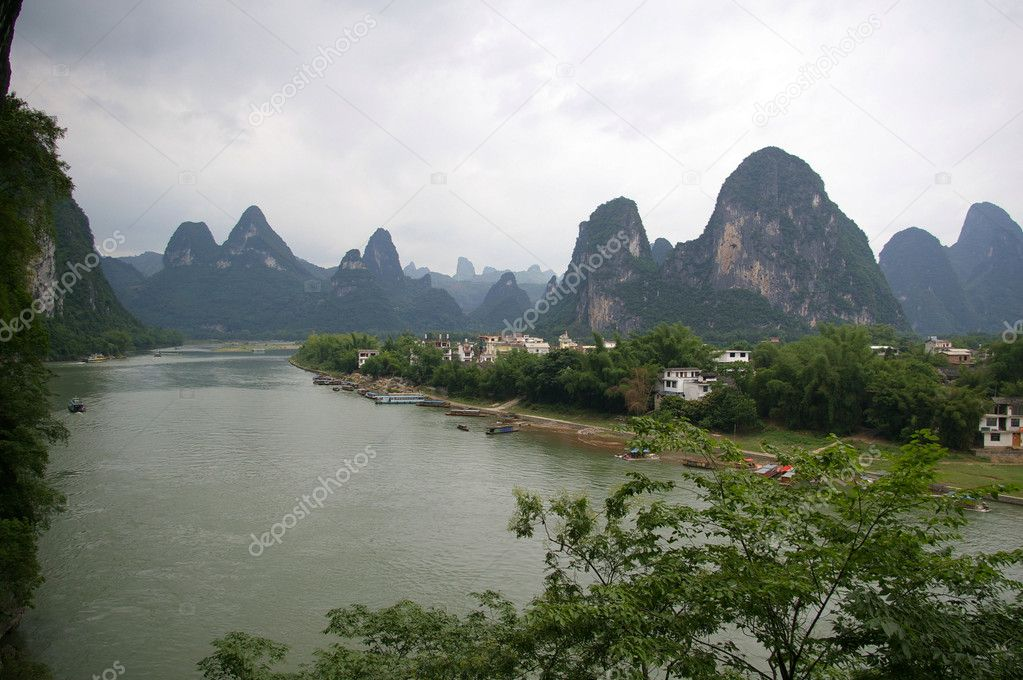Lanscape of Li River and limestone formations in China