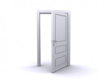 Open white door (3d render)