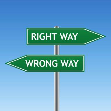 Right way and wrong way sign
