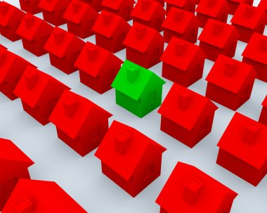 Red and green 3d houses