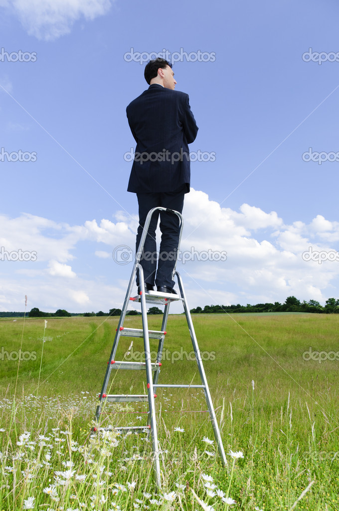 Manager outdoor on ladder