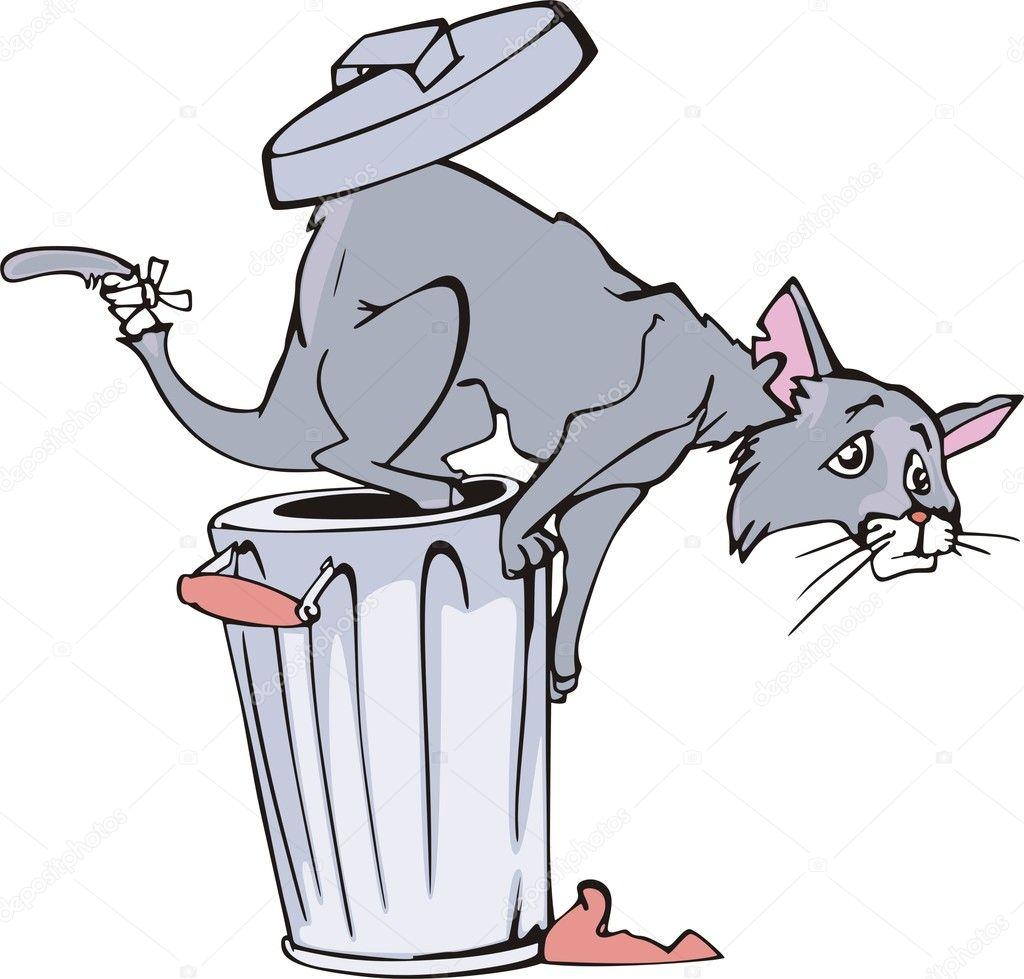 Cartone animato bin gatto e rifiuti — vettoriali stock