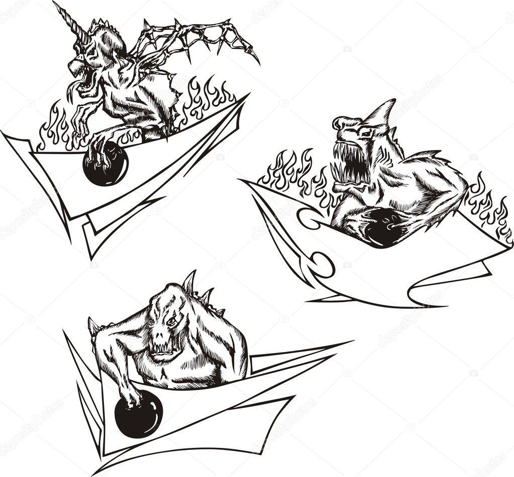 Bowling-Monster-Vorlagen — Stockvektor © rorius #4472558