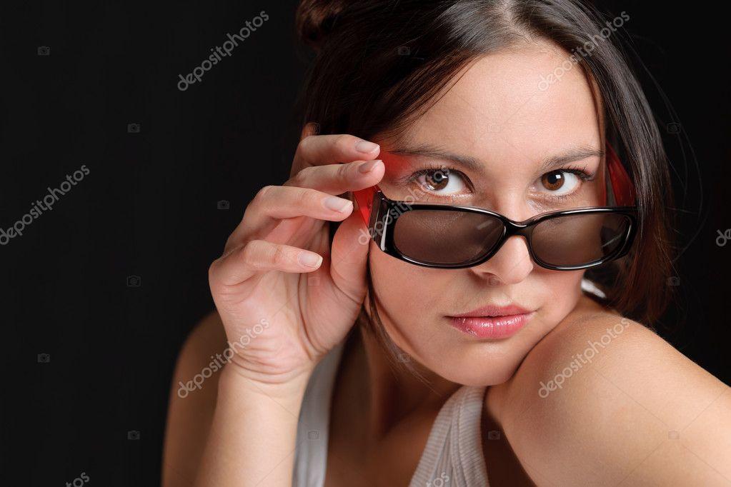 Designer Brillen - sportlich trendige Frau Mode — Stockfoto ...