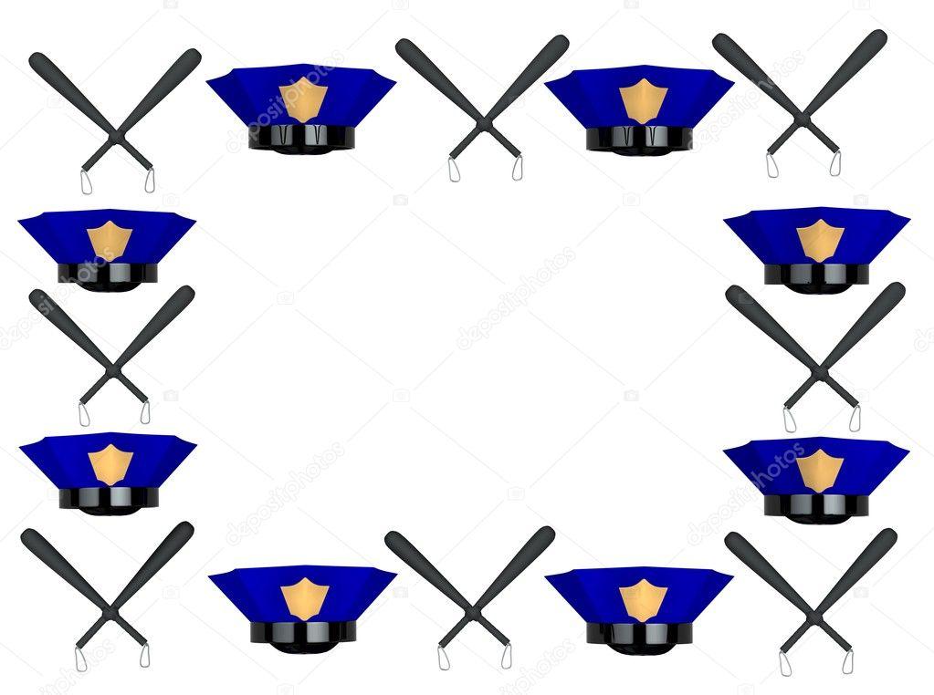 marco de fotos de sombrero y club de policía — Foto de stock ...