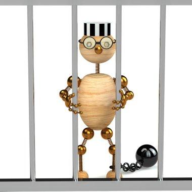 3d wood man as a prisoner