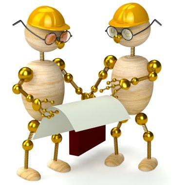 Two 3d wood man engineers