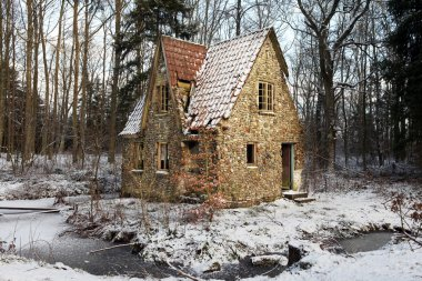 Ruin forest lodge home in winter