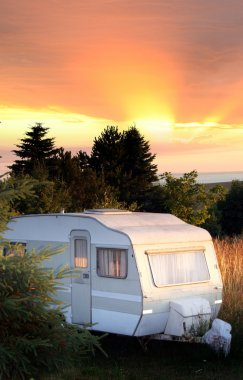 Caravan forest camping