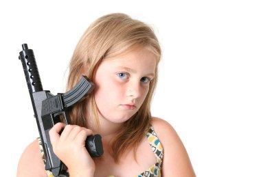 Girl machine gun isolated