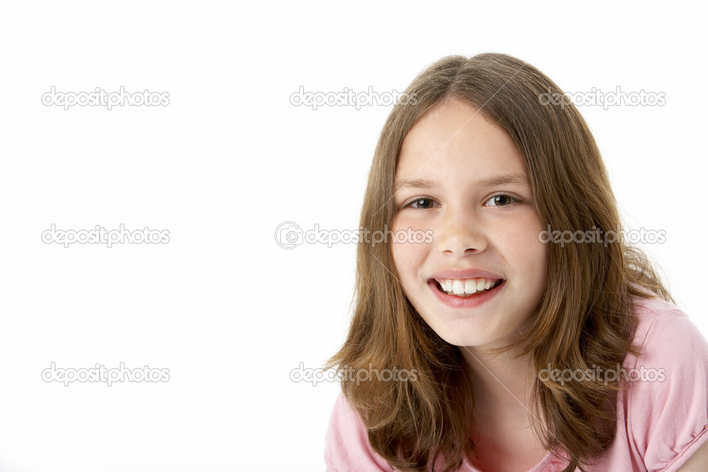 ba8e1f50d655 Ritratto di ragazza sorridente — Foto Stock © monkeybusiness  4795405