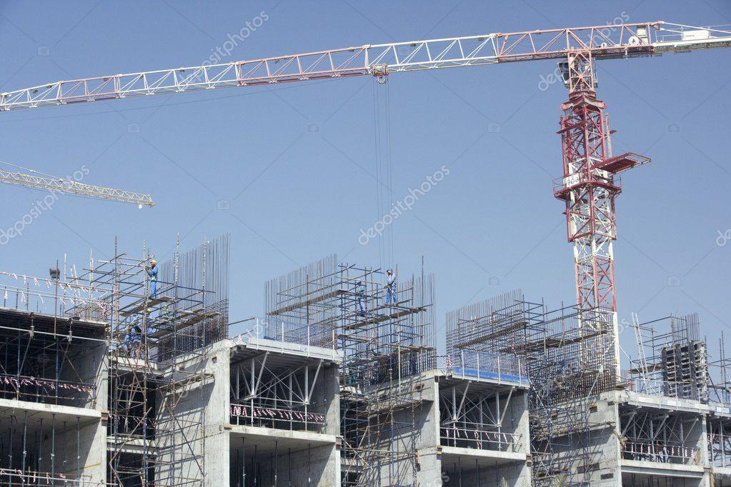 construccin de edificios en dubai u foto de stock