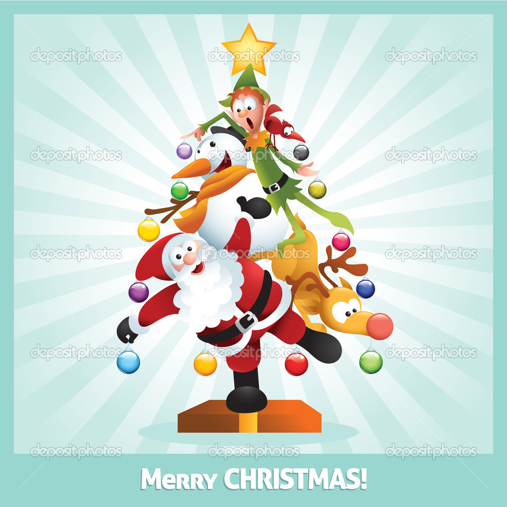 Funny christmas cartoon | Funny Christmas Card Cartoon Collage — Stock Vector ...