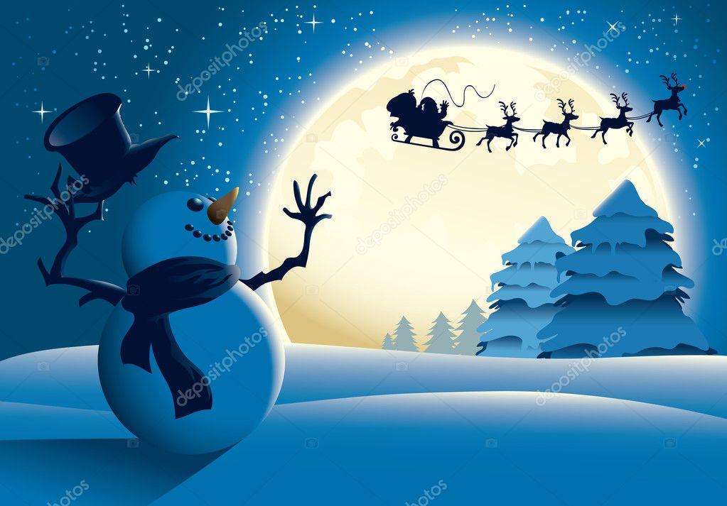 Lonely Snowman Waving to Santa Sleigh