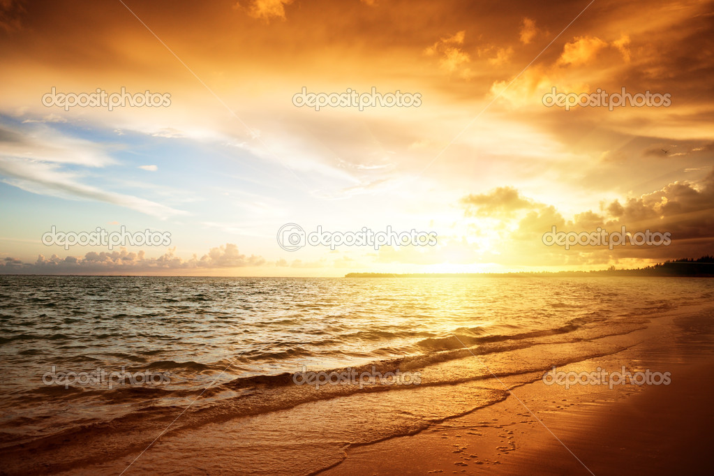 Sunrise and atlantic ocean