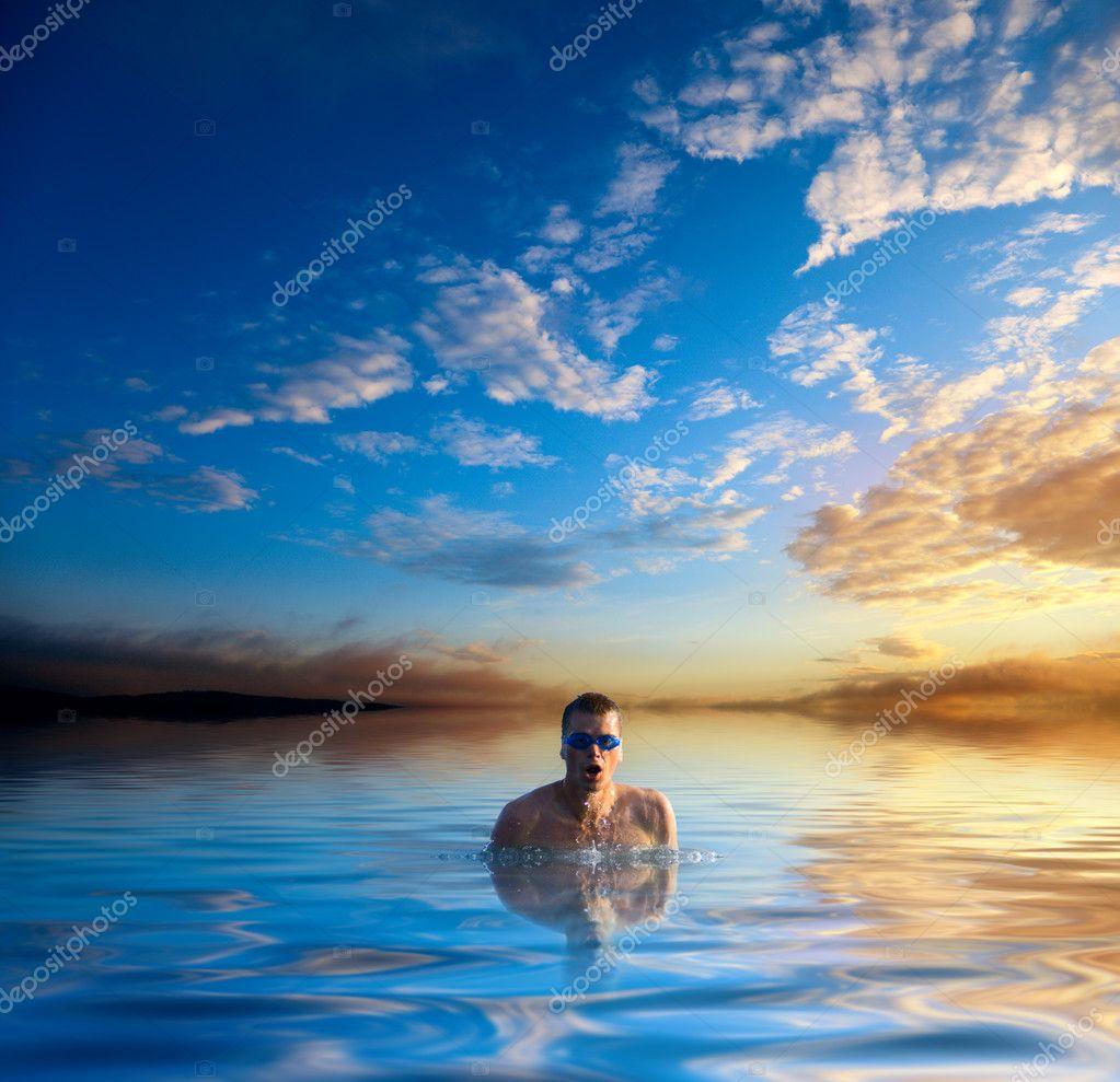 Swiming young man