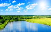 řeka a letní přírody