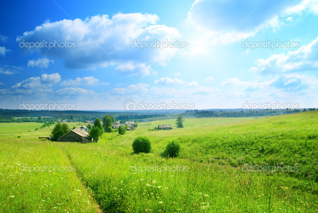 Perfect summer day in russian village