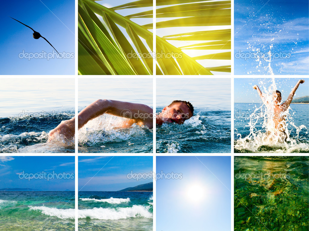Collage of active fun by sea