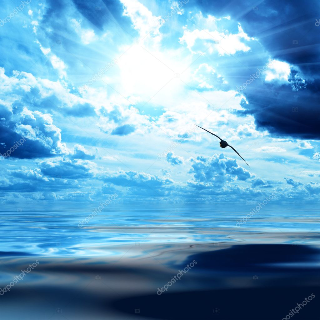 Blue sky and water in sea