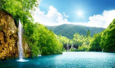 """Картина, постер, плакат, фотообои """"водопад в глубоком лесу """", артикул 4776743"""