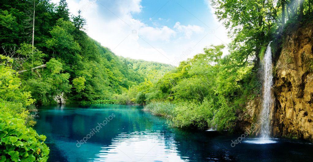 Фотообои Waterfall in deep forest