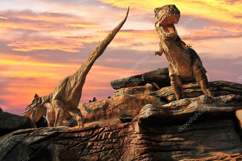 Statue model dinosaur in zoo. thailand