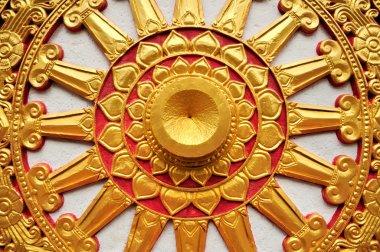 Golden Buddhism Symbol Wheel of Life