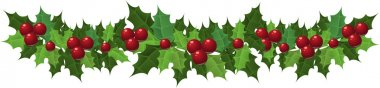 Christmas holly garland. Vector illustration