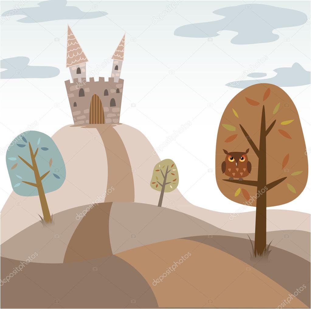 Landscape with medieval cartoon castle