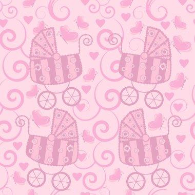 Seamless pattern for little girls