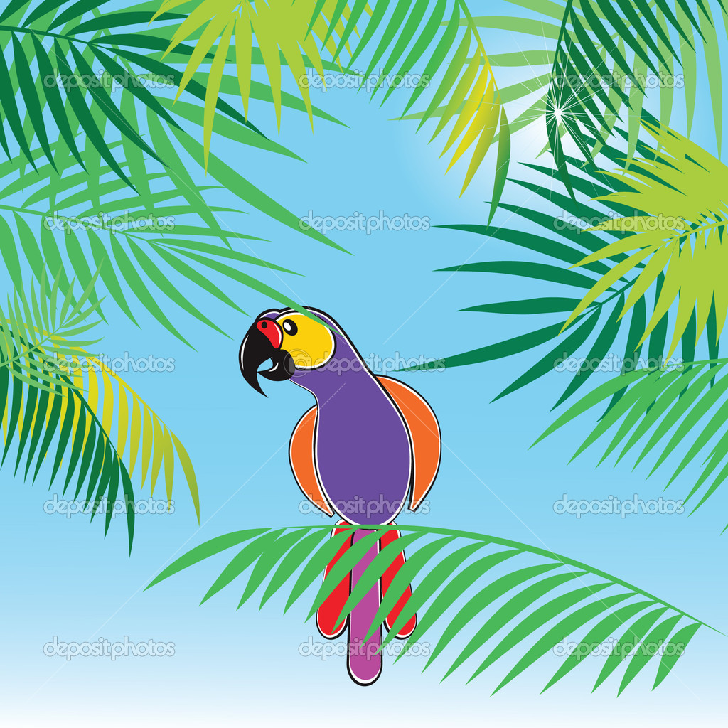 Tropical vector background with leaves of palm trees and parrot