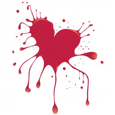 Grunge abstract heart with blood. Element for design. Vector illustration. clip art vector