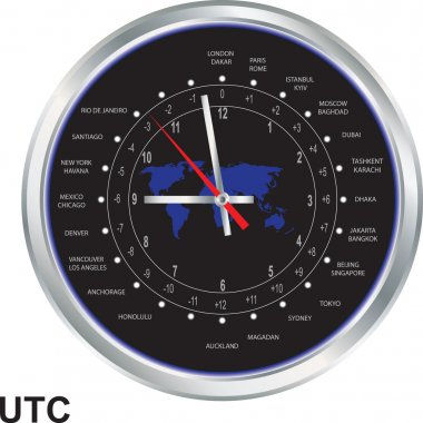 Silver clock with time zones