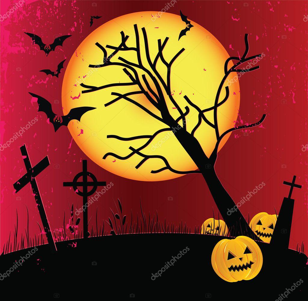 Two grunge Halloween frame with bat, pumpkins.