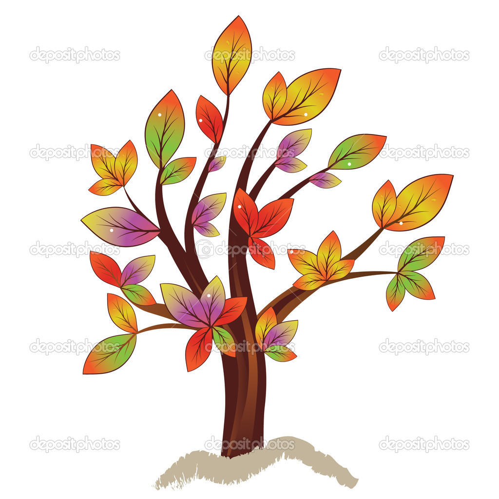 Abstract colorful autumn tree.