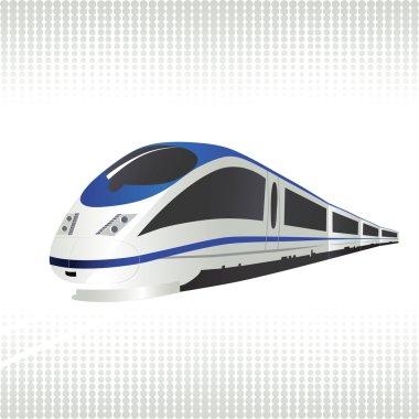 High-speed train on halftone background.