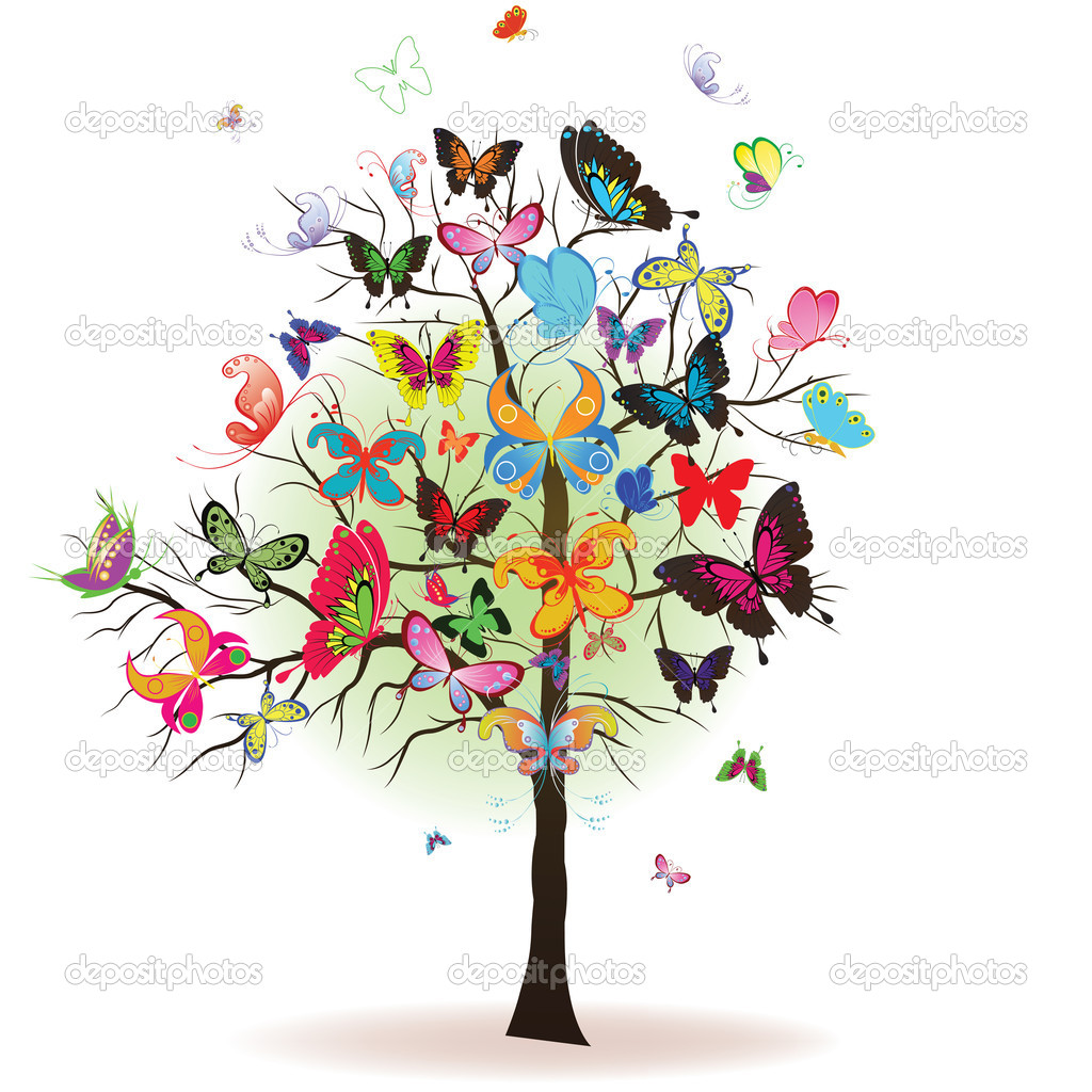 Floral tree with butterfly, element for design, vector illustration stock vector
