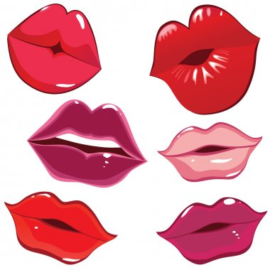 Set of glossy lips in tender kiss. Vector illustration. stock vector