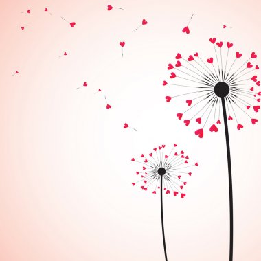 Silhouette of dandelion couple in the wind. Vector illustration. clip art vector