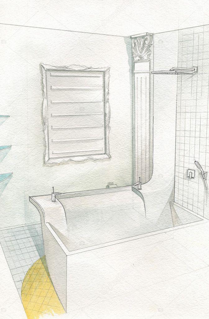 tekening badkamer interieur — Stockfoto © DigitalMagus #5343646