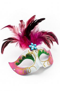 Carnival mask with feathers and diamond