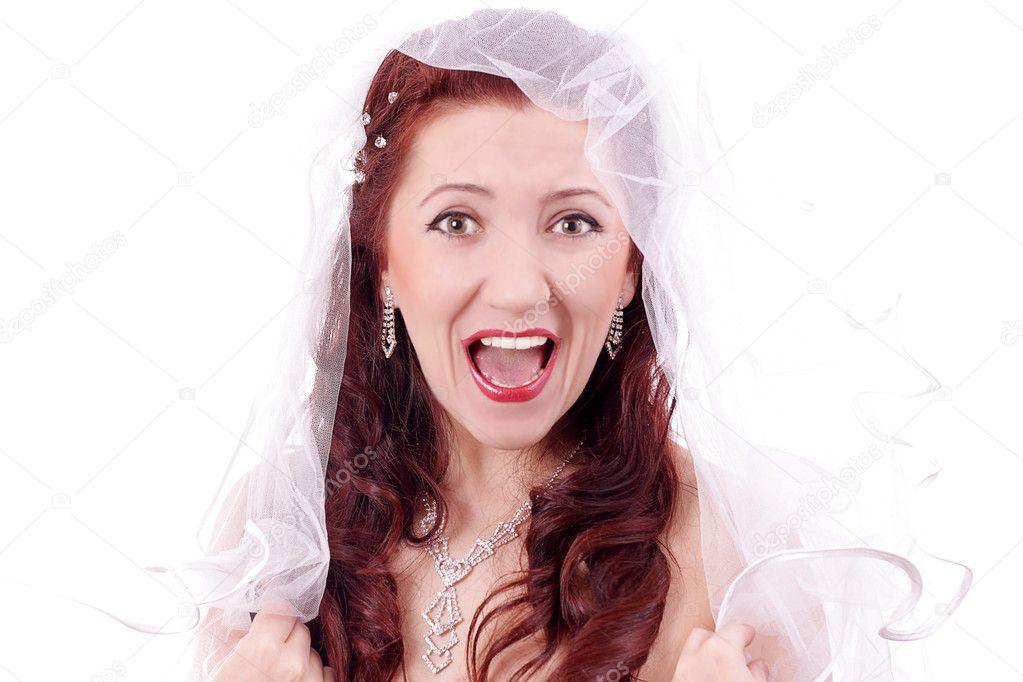 Schones Madchen Mit Langen Roten Haaren Trug Ein Hochzeitskleid