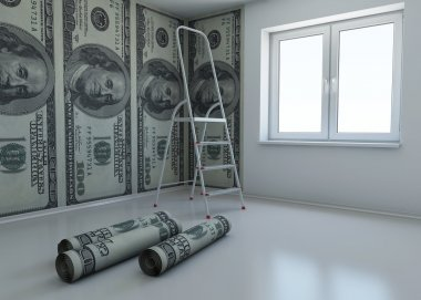 Wallpaper patterned dollar as a symbol - the money for repairs. 3d renderin