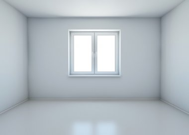 Room with closed window without furniture. 3d rendering